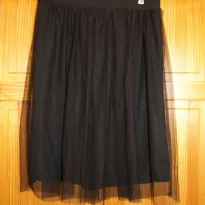 Maurices Black Tulle Midi-Skirt, size large
